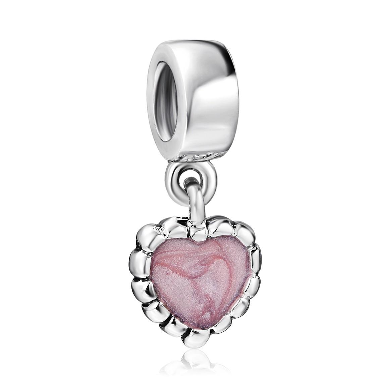 Sterling Silver Love Heart Red Wine Crystal Pink Bead f// European Charm Bracelet