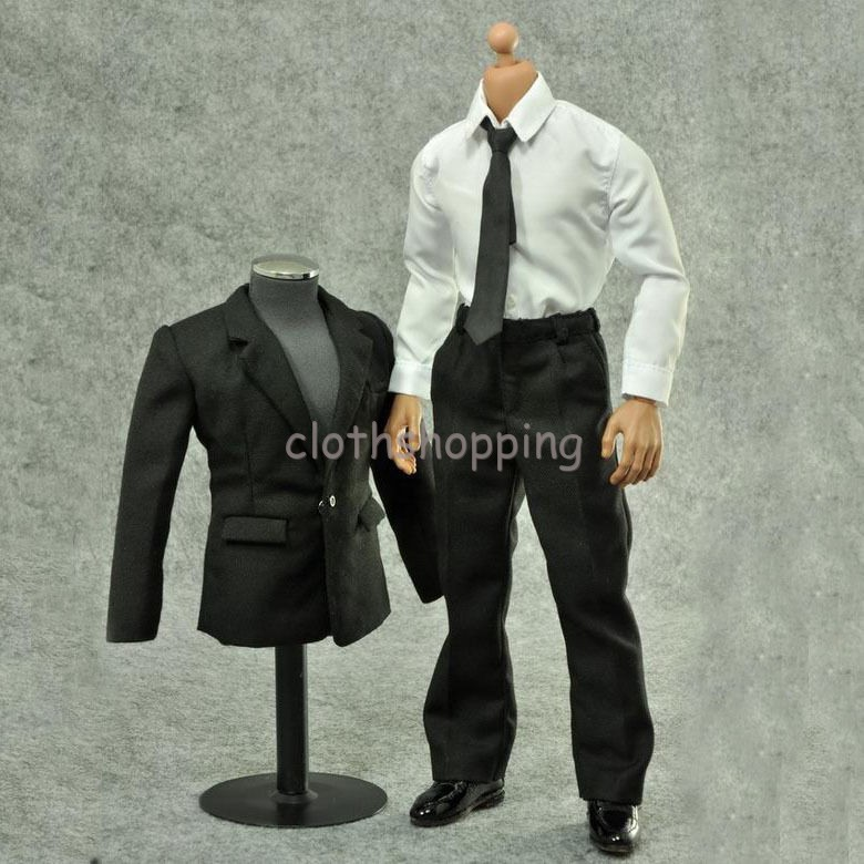 "ZYTOYS 1//6 Scale Figure Clothes Model Black Suit White Shirt Set F 12/"" Male Body"