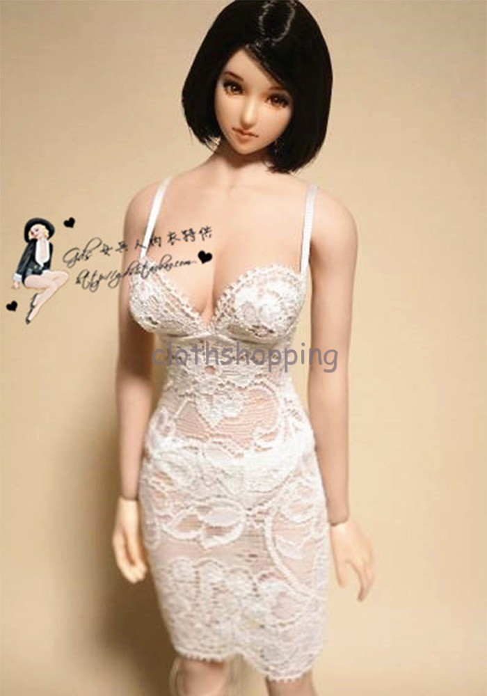 """1:6 Scale White Female Wrapped Chest and Lace Dress Set For 12/"""" Phicen HT Body"""