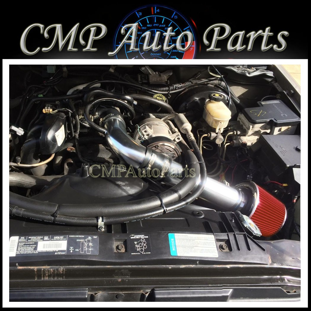 """BLACK RED 1994-1997 CHEVY S10//XTREME//HOMBRE//SONOMA 2.2L FULL COLD AIR INTAKE 3/"""""""