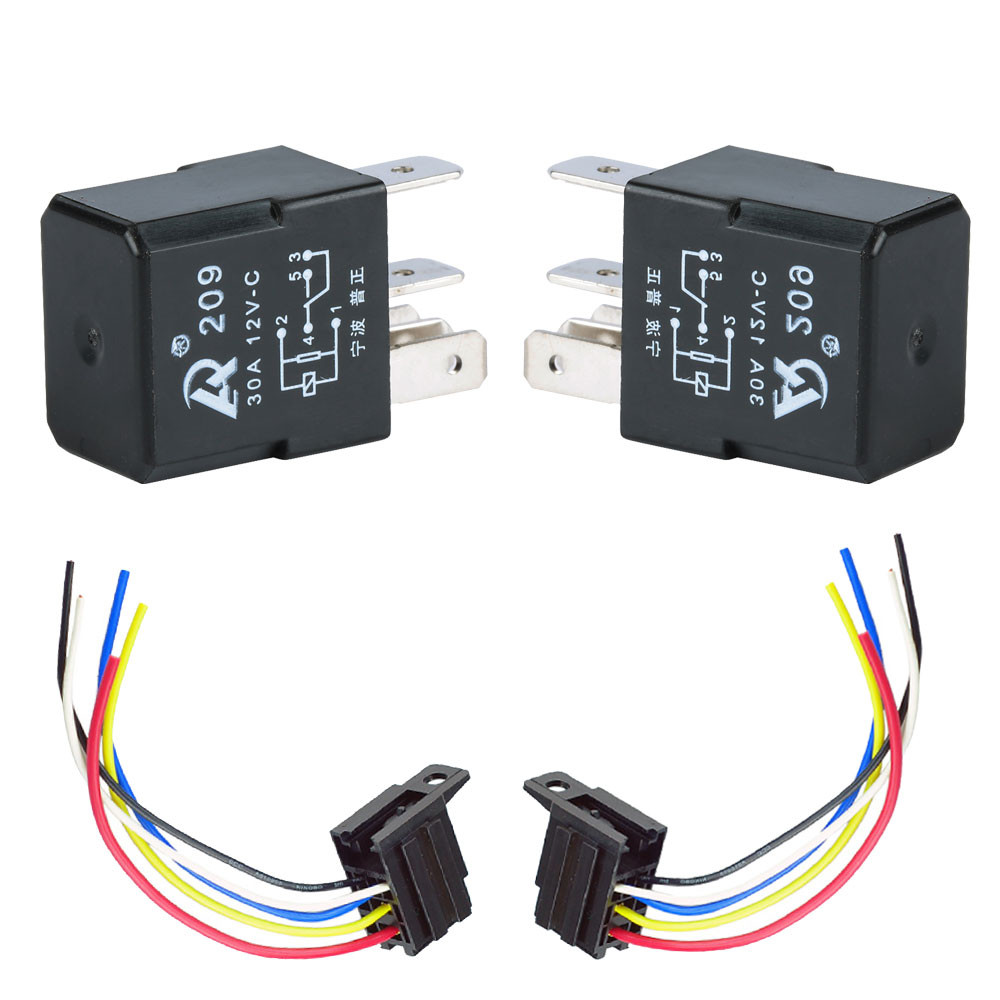 New 2pack 30a Relay Socket For Car Electric Fan Fuel Pump Light 12v Universal Wiring Automotive Spdt 5 Pin Sockets Wire 5pin