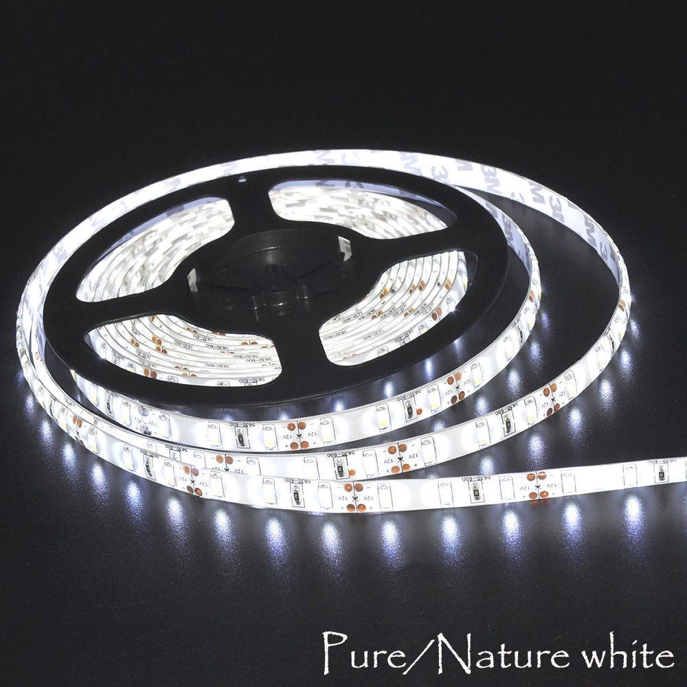 3528 16FT 5M 300 LED DC 12Volt Strip Light SMD Under Kitchen Cabinet White Car