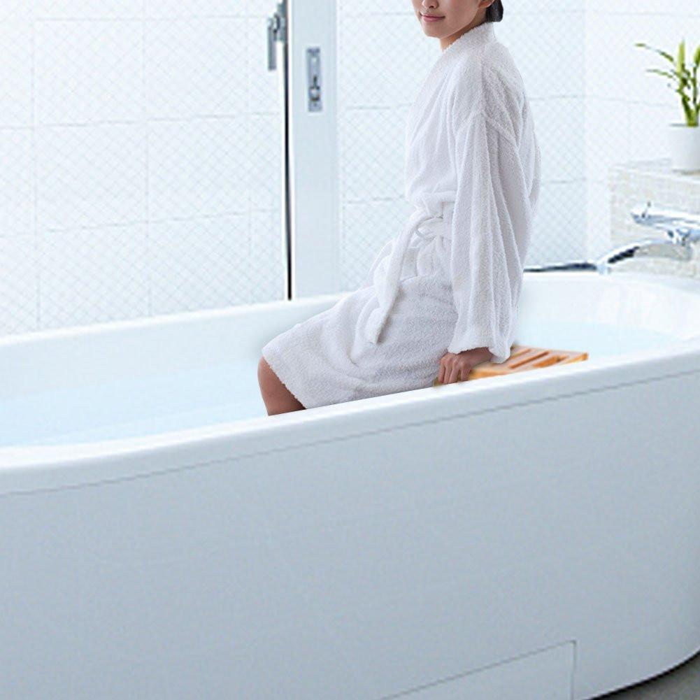 Bamboo Shower Seat Bench Bathroom Spa Bath Organizer Stool 2-Tier ...