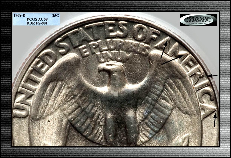 1968 D Washington Quarter- Doubled Die Reverse / DDR -001
