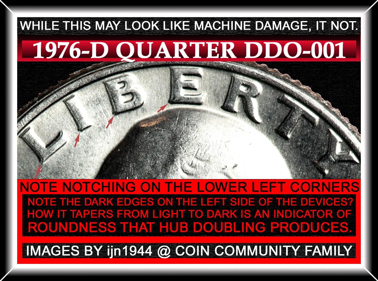 Washington Quarter 1776-1976 D Doubled Die Obverse / DDO