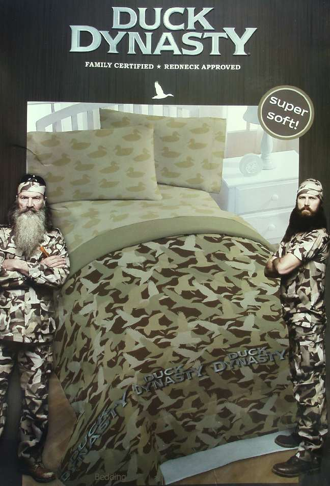 Description. NEW IN ORIGINAL PACKAGING. DUCK DYNASTY GREEN BROWN CAMOUFLAGE  TWIN COMFORTER SHEETS 4PC BEDDING ...