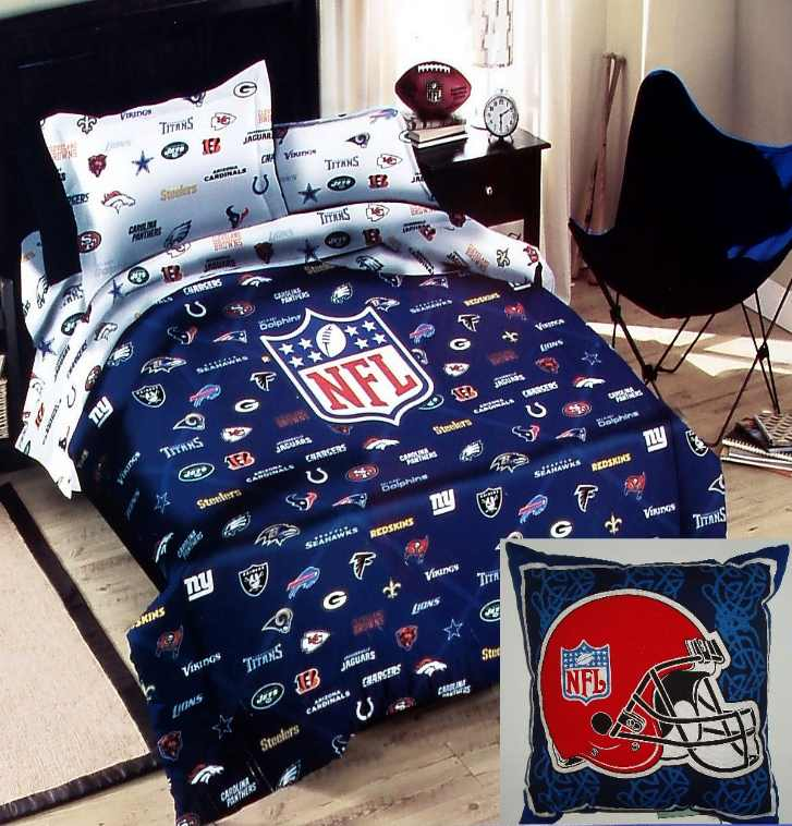 Najarian Nba Youth Bedroom In A Box: NFL FOOTBALL TEAMS LOGOS BLUE TWIN COMFORTER SHEETS PILLOW