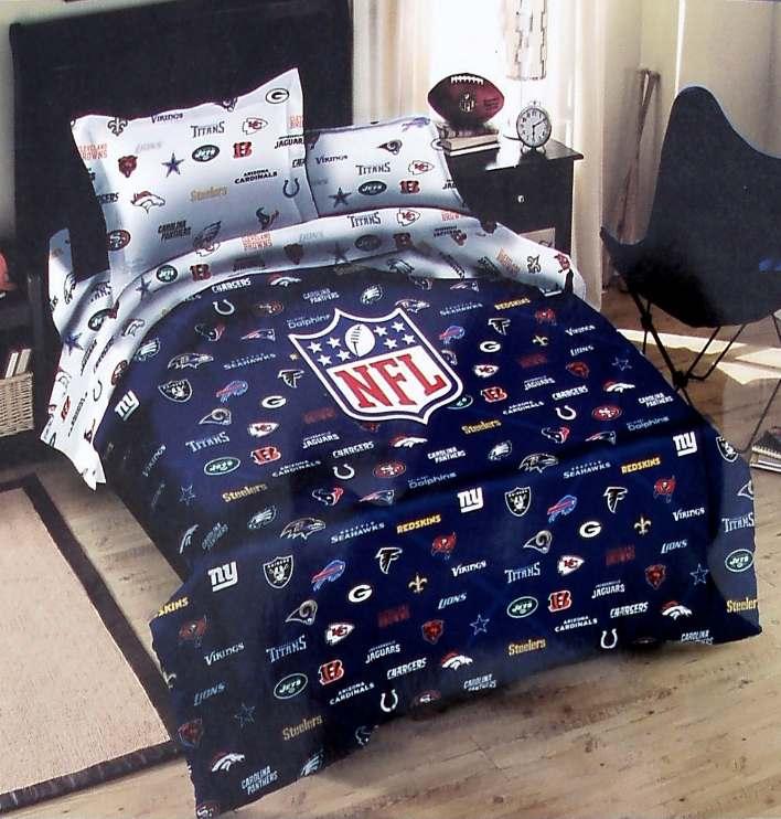 Nfl Football Team Logos Blue Twin Comforter Sheets 4pc