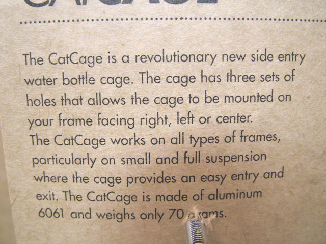 New-Old-Stock Catamount CatCage...Black Aluminum Water Bottle Cage