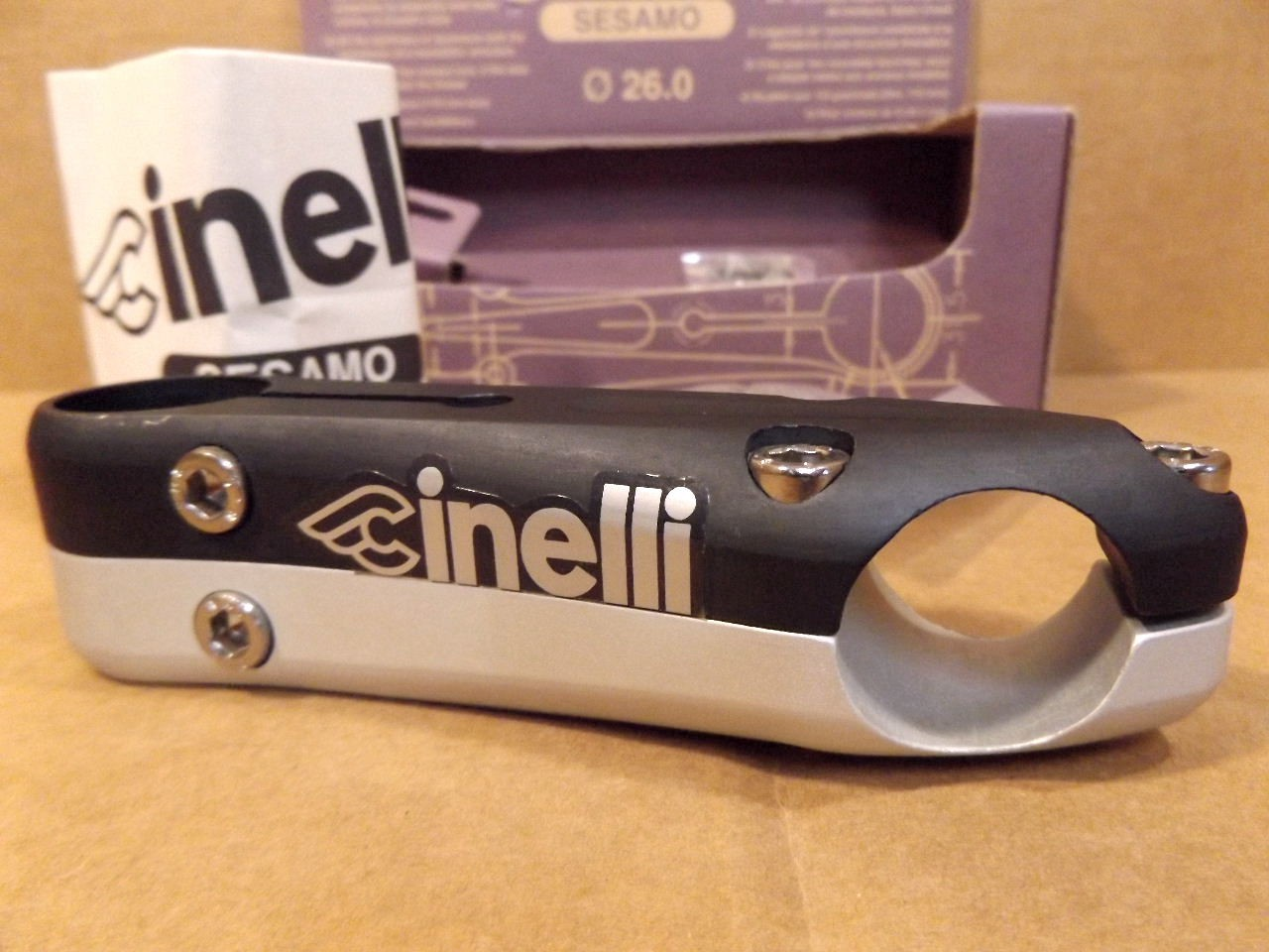 110 mm NOIR//finition argent avec argent autocollants NEW-OLD-Stock Cinelli Sesamo tige..