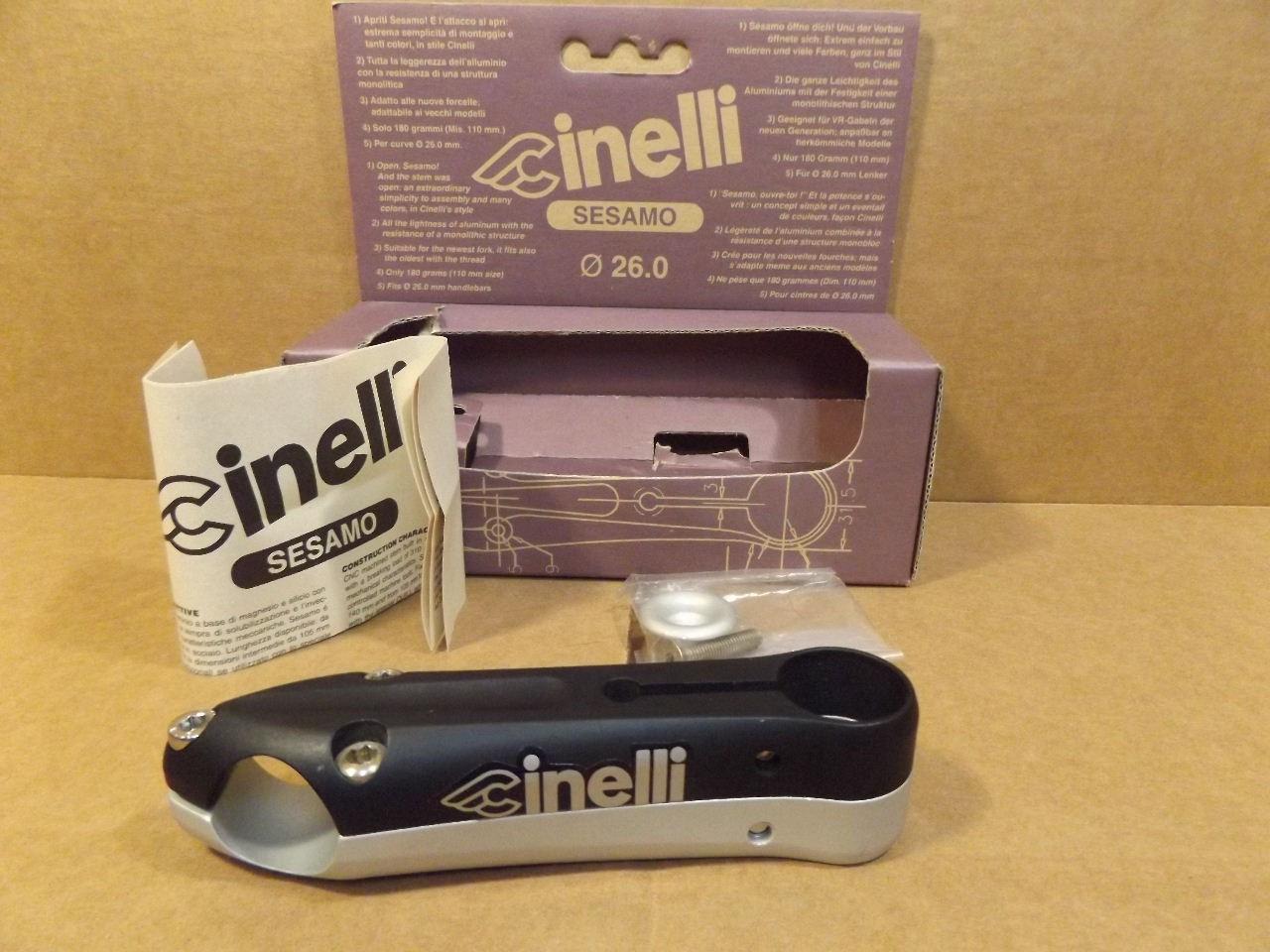 New-Old-Stock Cinelli Sesamo Stem..Silver Finish w//Black Decals 130 mm