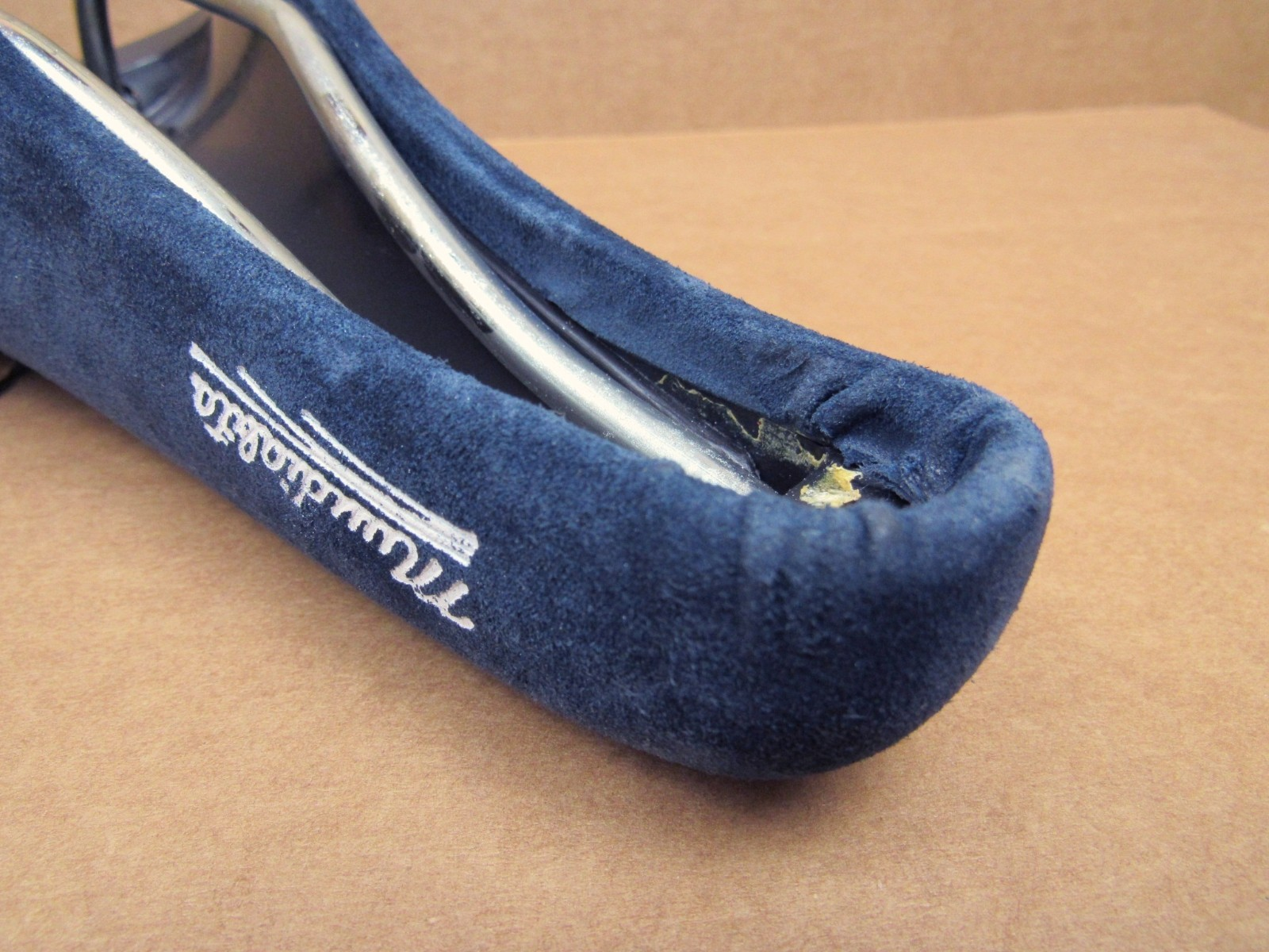 New-Old-Stock Mundialita Saddle w//Dark Blue Cover and Cleaner Underside Design