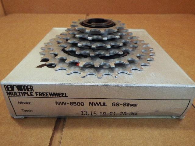 w//Silver Finish New-Old-Stock Suntour New Winner 6-Speed Freewheel 13x30