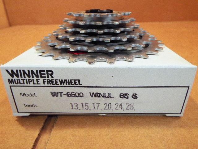 w//Silver Finish New-Old-Stock Suntour New Winner Ultra 6-Speed Freewheel 13x24