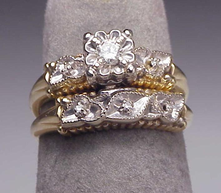 Antique 14K Two Tone Gold Diamond Engagement Ring Set