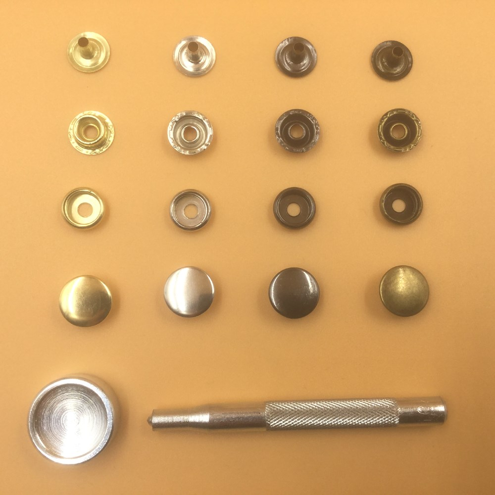 4 Parts Press Studs Snap Fasteners 20Sets Button with Hand Tool DIY Crafts 15mm