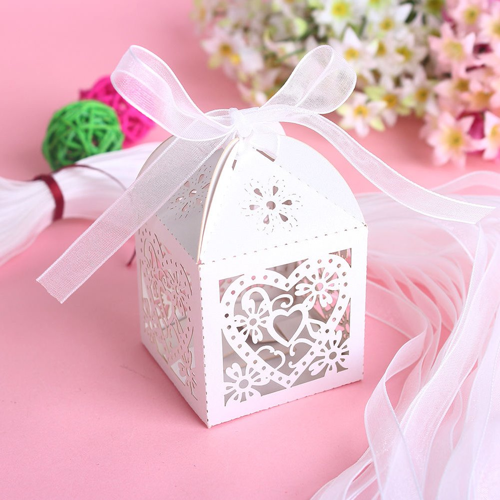 New 50 PCS Love Heart Laser Cut Candy Gift Boxes With ...