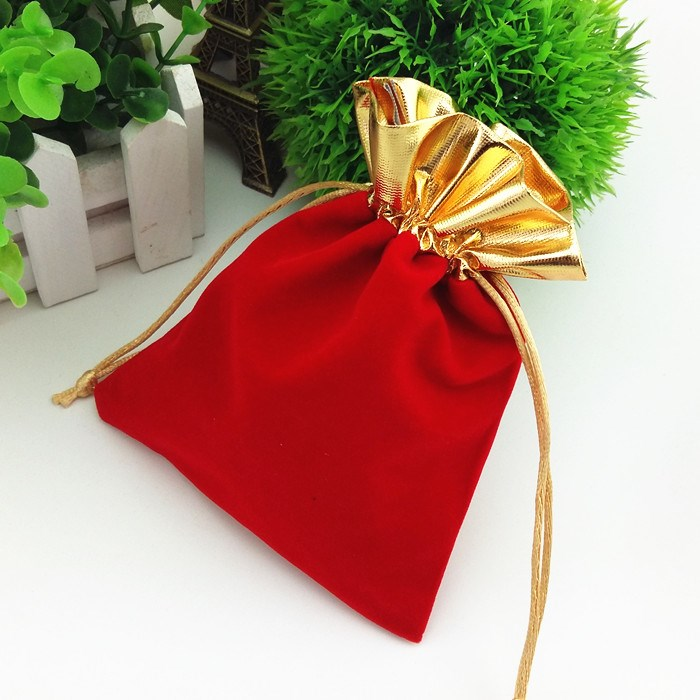 Golden Trim Drawstring Jewelry Pouches Velvet Gift Bags Wedding