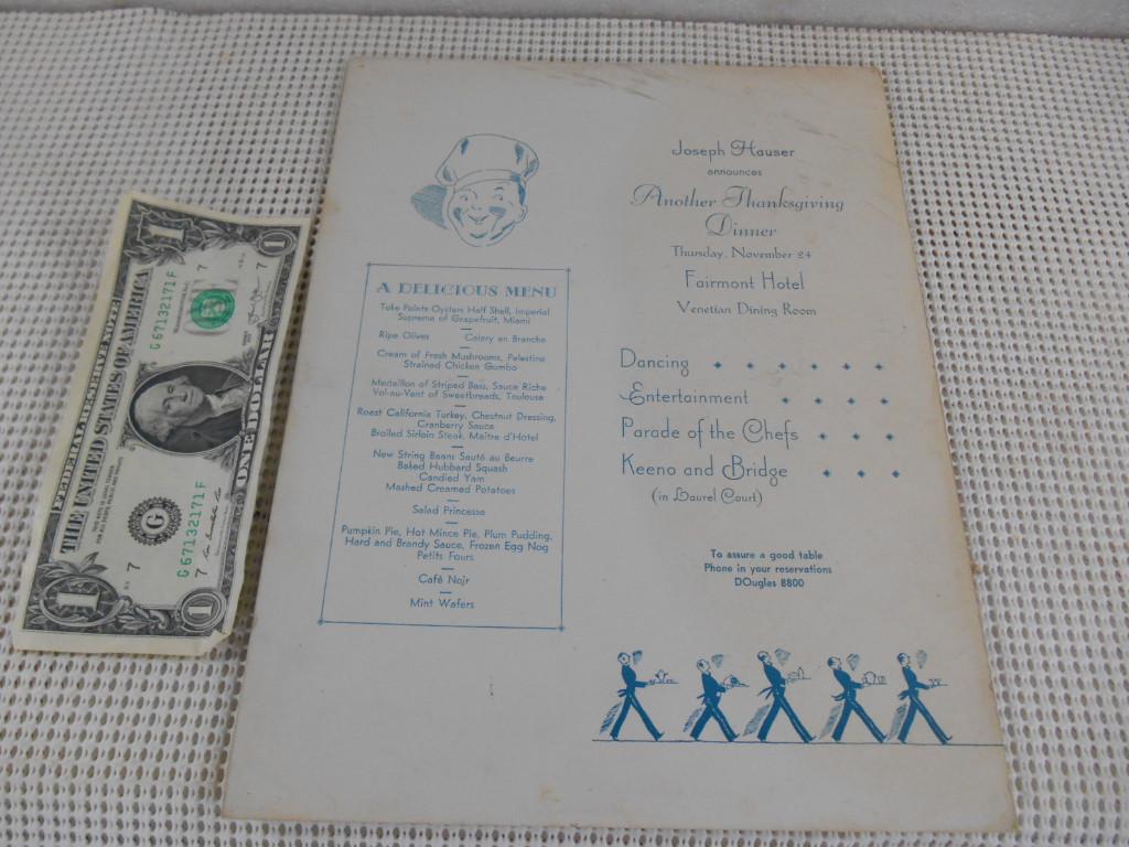 Vintage 1930s cena de Acción de Gracias menú Fairmont Hotel ...