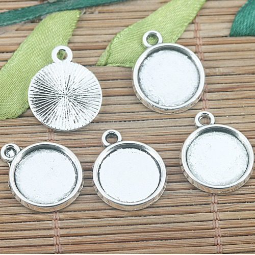6pcs Tibetan silver color 26mm round cabochon settings charms EF0983