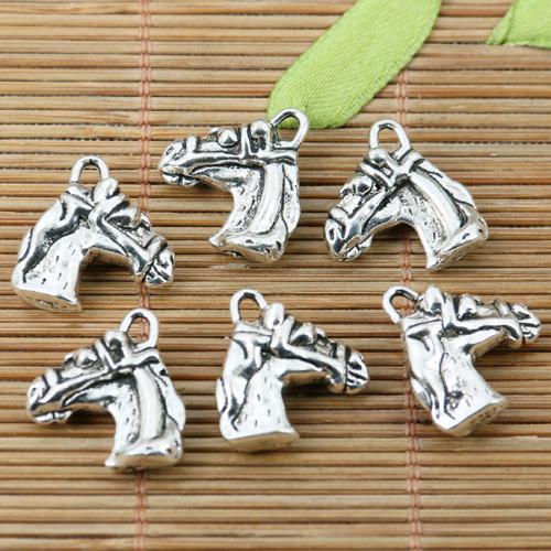 8pcs Mother Baby Horse Beads Tibetan Silver Charms Pendant DIY Bracelet 28*23mm