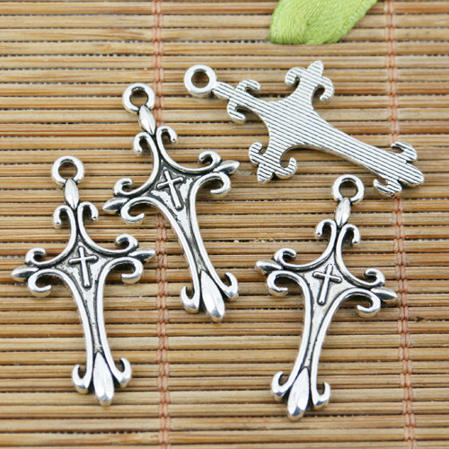 52pcs tibetan silver color round peace sign charms EF2243