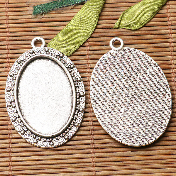 3pcs dark silver color floral rim oval cabochon setting in 20x30mm EF3168