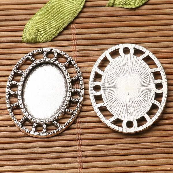2pcs dark silver floral  rim oval shaped  cabochon setting in 13x18mm EF3265