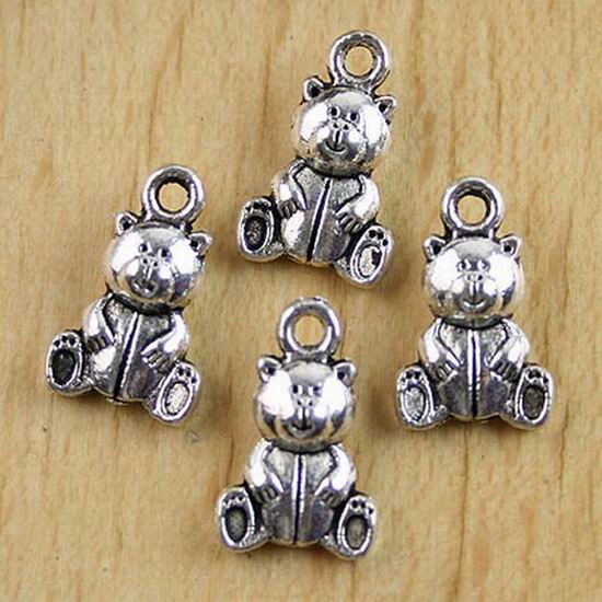 30pcs Tibetan silver crafted teddy bear pendants H0123