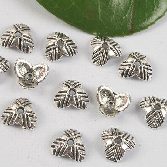 200pcs Tibetan Silver Metal End Beads Caps Jewelry Findings Round 10x10x1mm