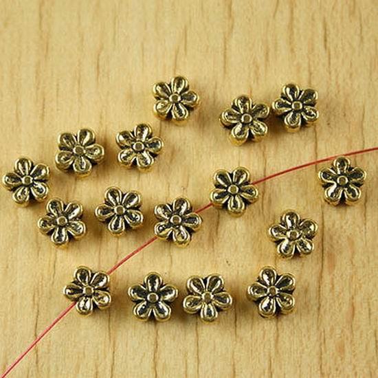 30pcs dark gold-tone 2sided plum flower spacer beads h2136