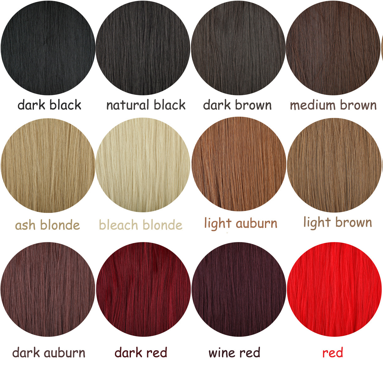 100 real as human hair one piece half full head clip in hair color chart nvjuhfo Choice Image