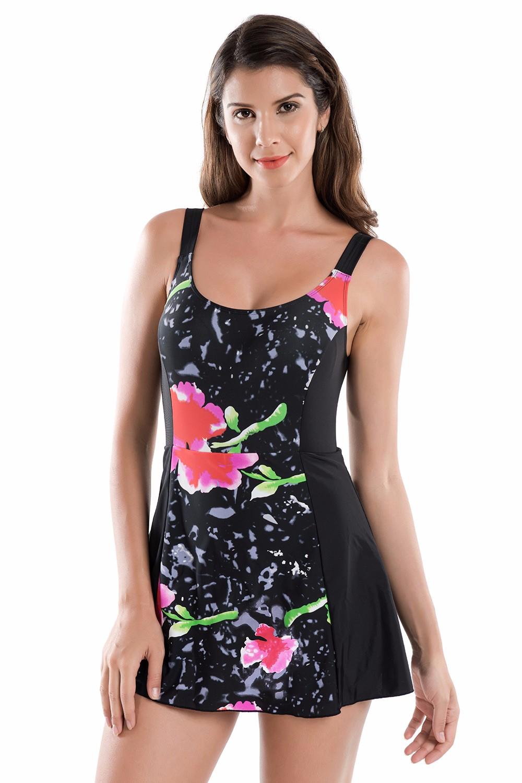 Women's Floral Print One Piece Swimwear Swimsuit Beachwear
