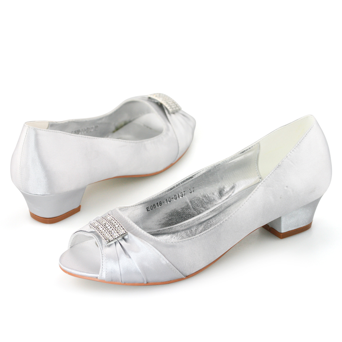 Ladies silver satin diamante peep toe low heels evening ...