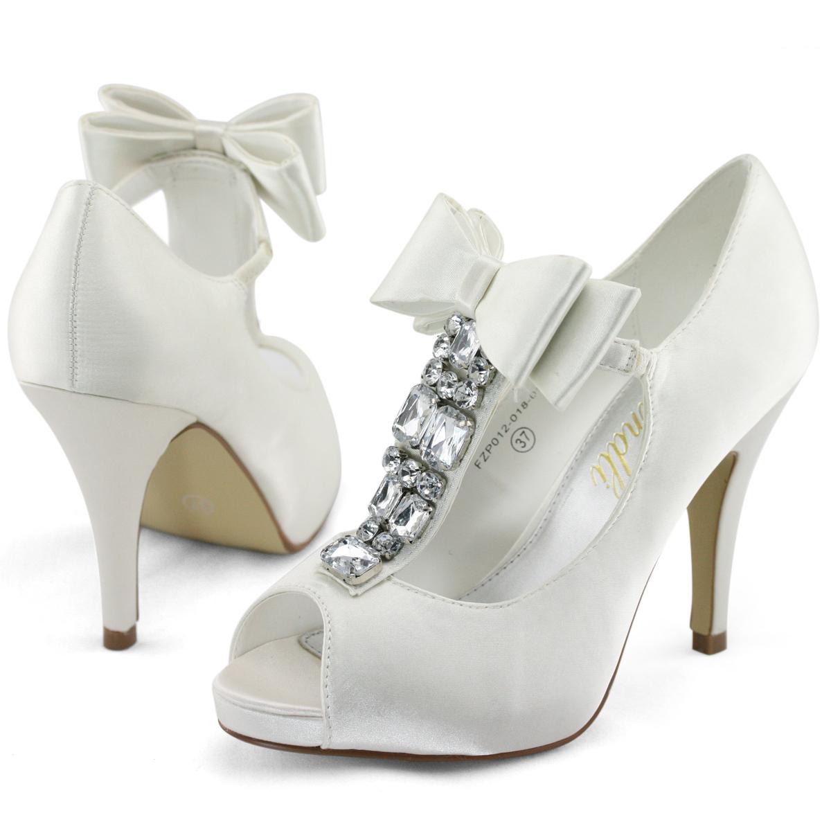 New Ladies Satin Wedding Party Mary Jane Cut Diamantes Bow