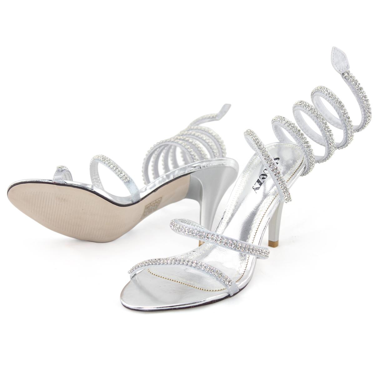 SHOEZY womens silver strappy diamante formal wedding prom ...