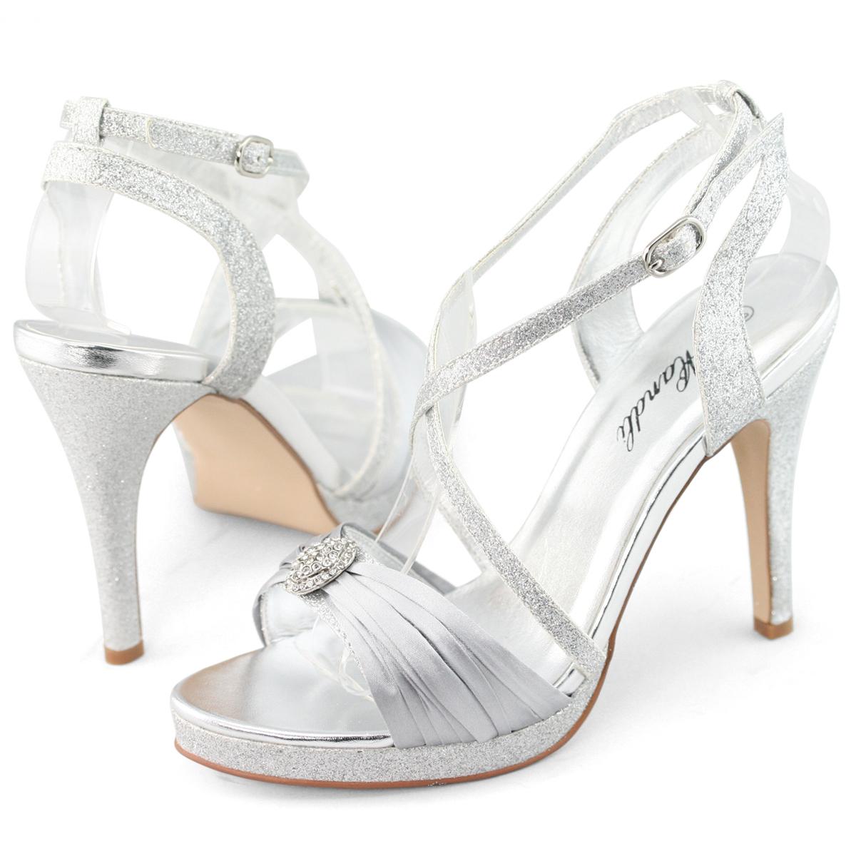 SHOEZY-Womens-Silver-Diamante-Platform-Pumps-Evening-Prom ...