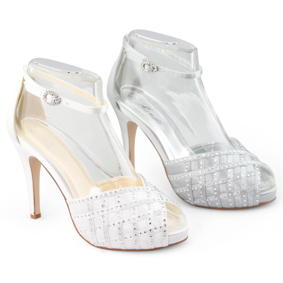 SHOEZY Womens Silver Heels Bridals Sandals Wedding Pumps ...