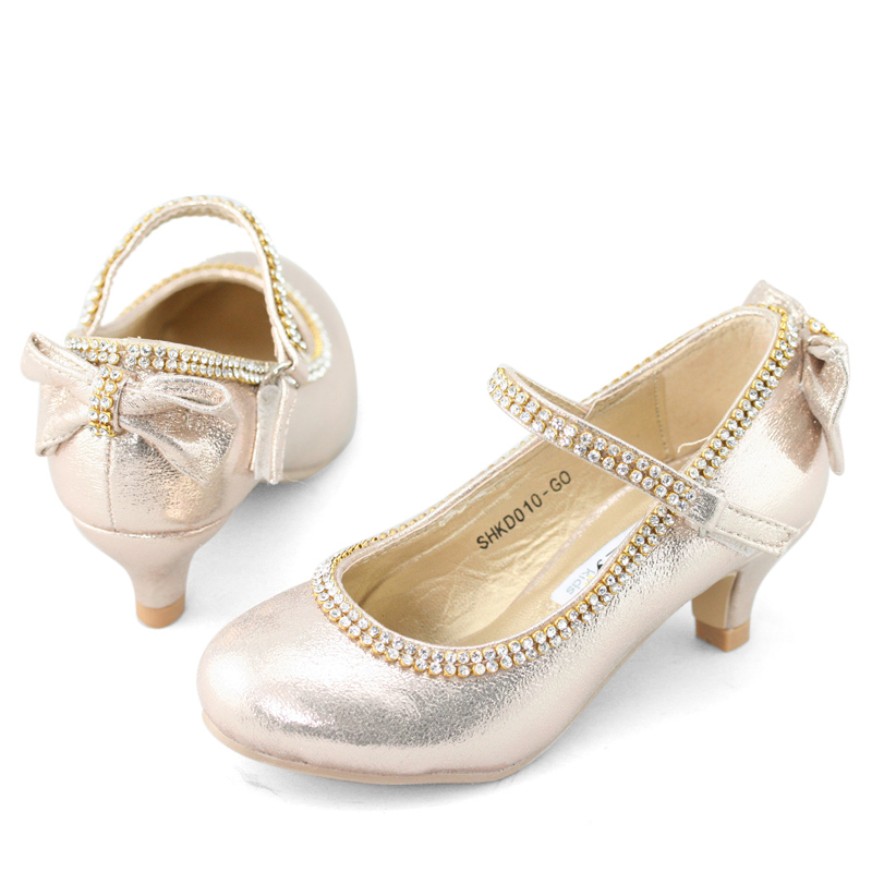 Bridal Shoes Jb: Lovely Flower Girls Low Heels Kids Bow Velcro Glitter