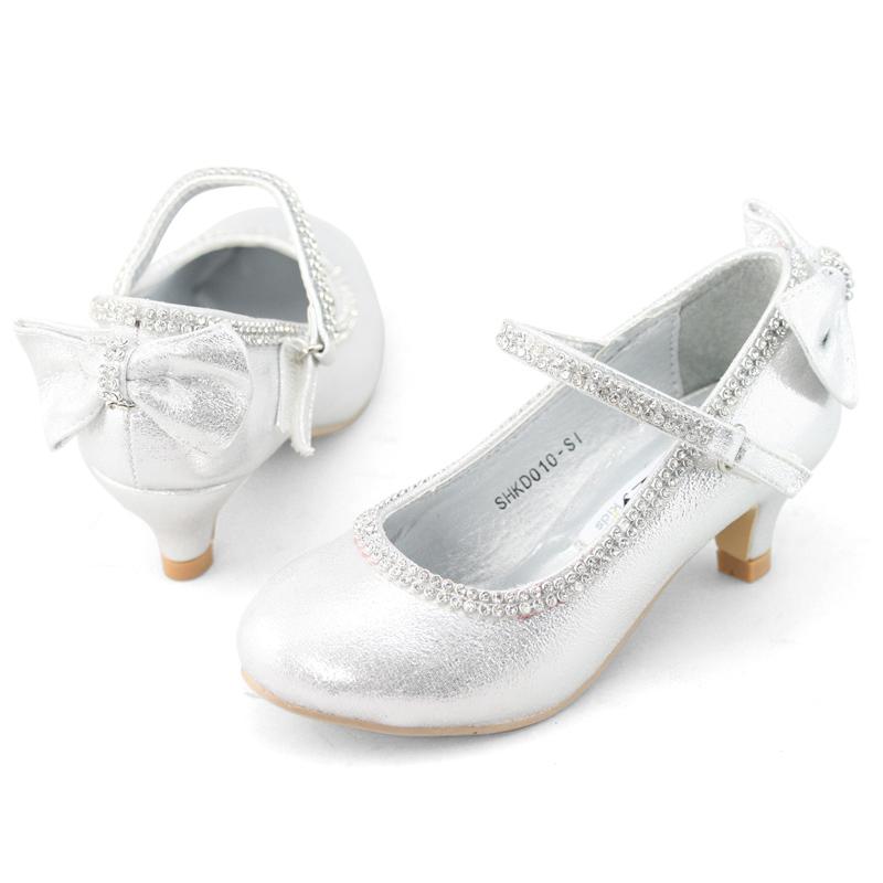 Lovely Flower Girls Low Heels Kids Bow Velcro Glitter