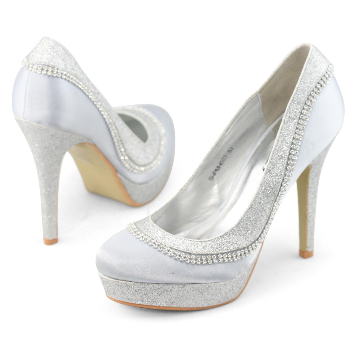 SHOEZY New Womens Silver Rhinestone Wedding Party Dress ...