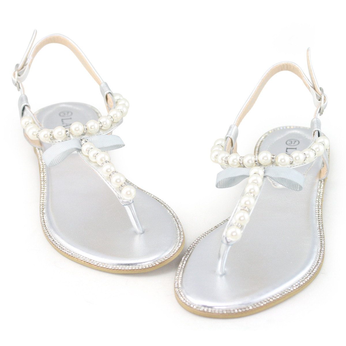 womens white rhinestone flat pearl leather sandals wedding ...