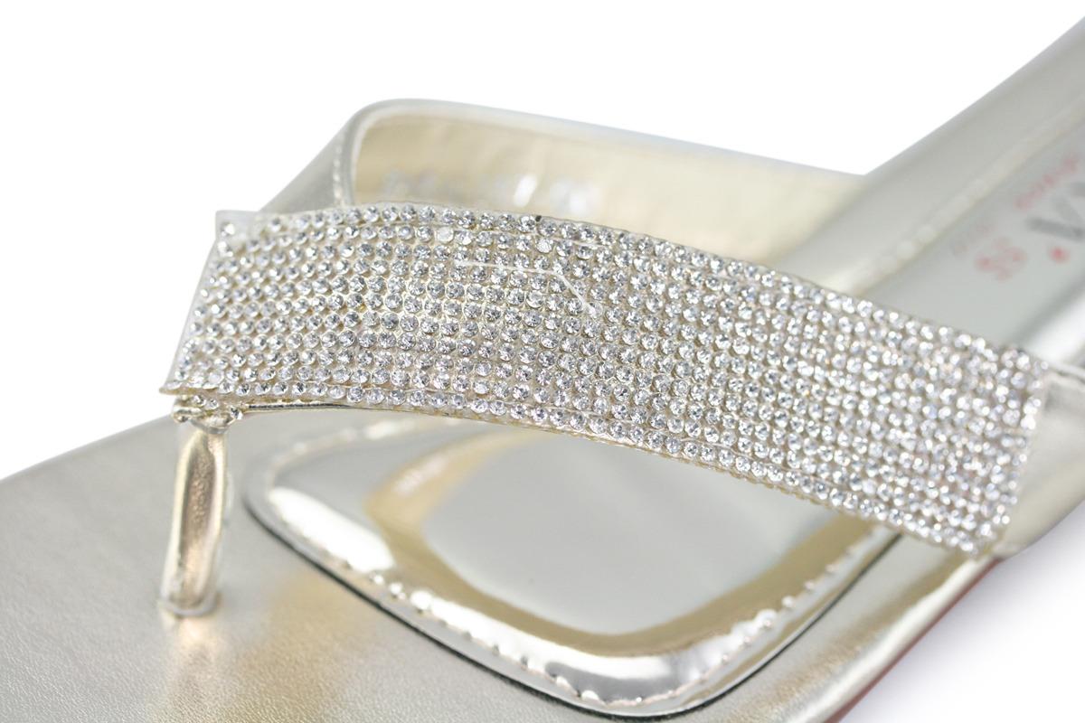 3666e10c957 Women s Silver Strappy Prom Wedding Dress Sandal Heel Shoe. Womens Silver  Sandal Rhinestones Flip Flops Bridal Slipper