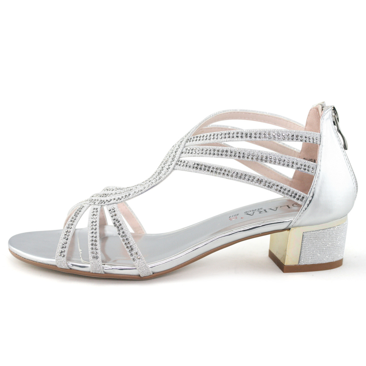 Womens Sparkly Strappy Wide Fit Sale Shoes Comfort Silver