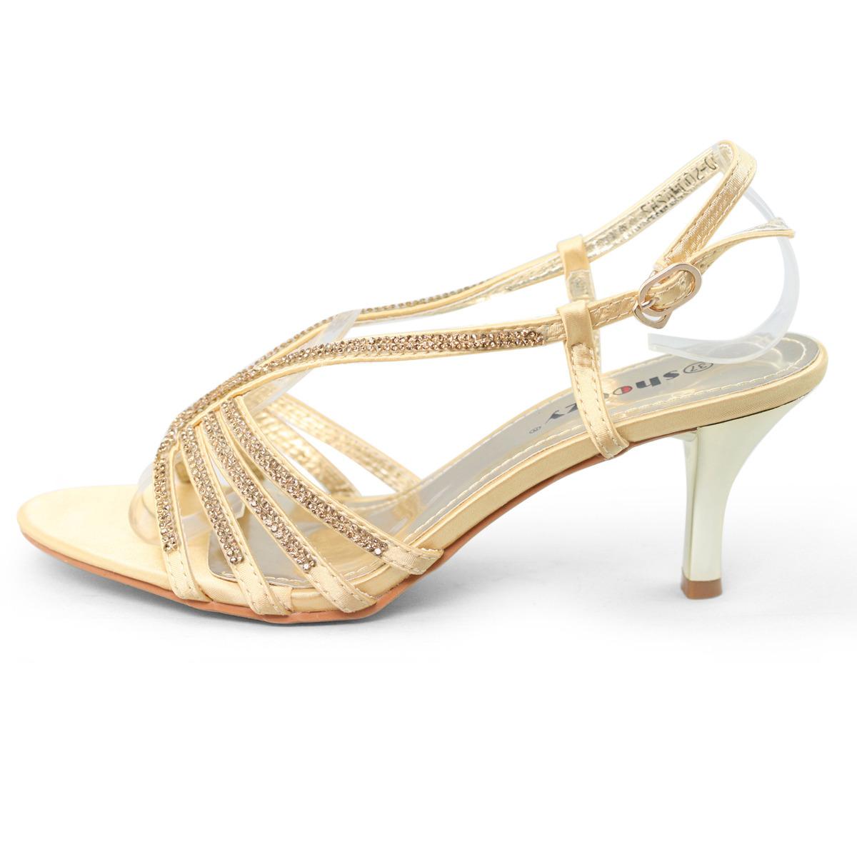 Womens Rhinestone Mid Heel Sandals Silver Gold Wedding