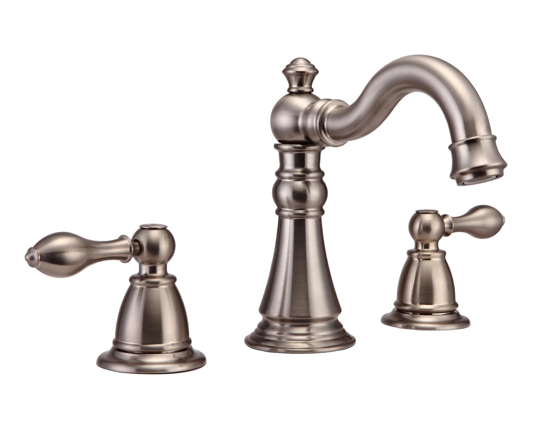 Bathroom vanity sink widespread lavatory faucet brushed - Polished nickel widespread bathroom faucet ...