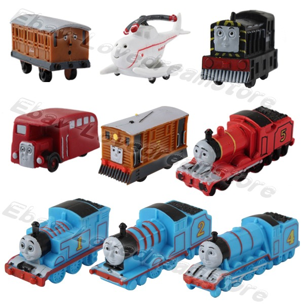 Set Of 9pcs Thomas Friends Mini Trains And Coal Car 4cm 6cm PVC Figure Kid Toy