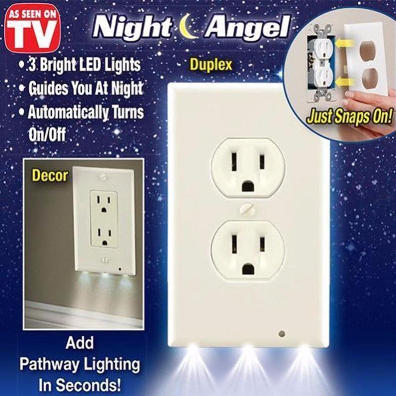 Light And Plug Covers Pro Duplex Night Angel Light Sensor Led Plug Cover Wall Outlet