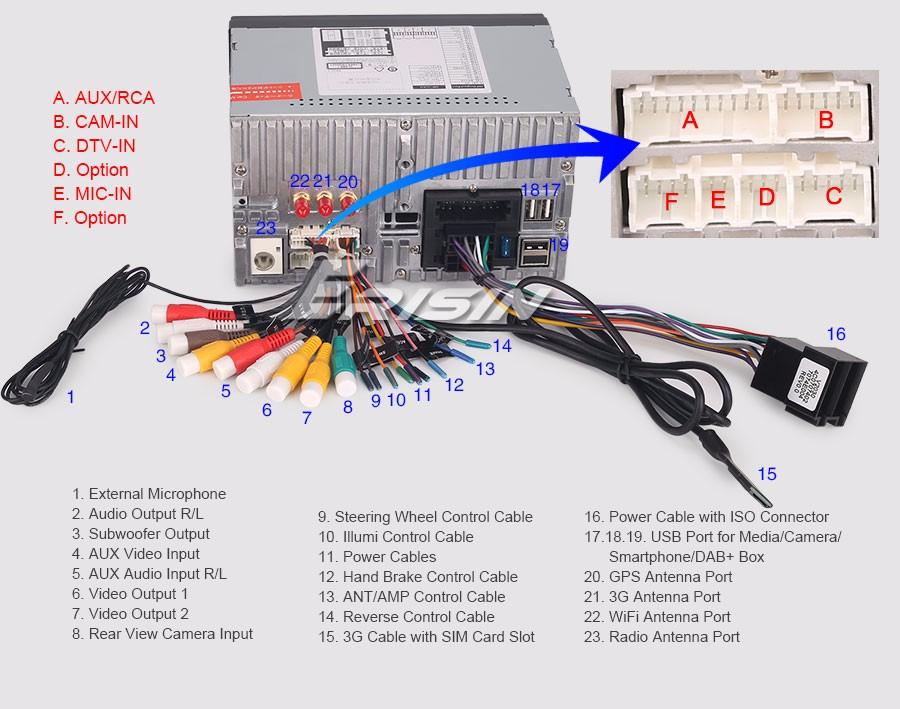 ouku double din wiring harness double 2 din car gps sat nav usb sd dab+3g wifi dvr dvb-t ...