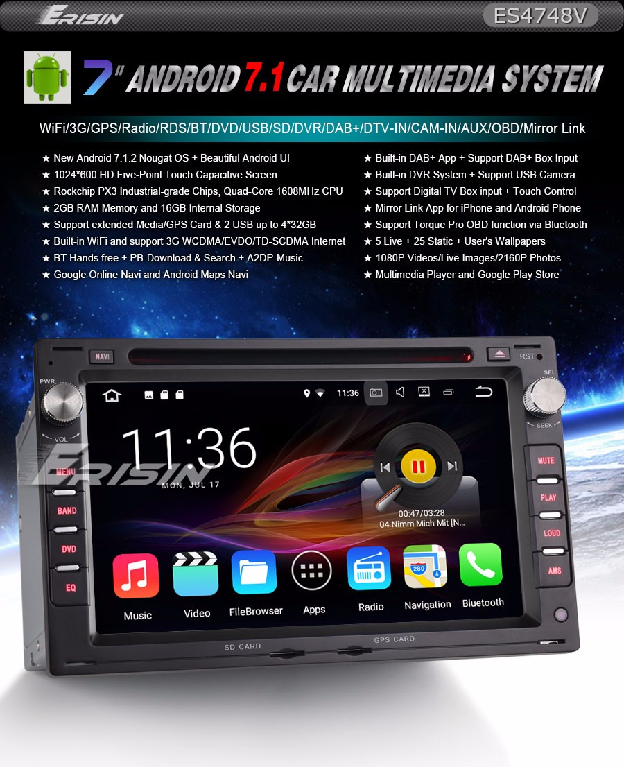 Details about Car DVD Android 7 1 For VW PASSAT PEUGEOT GOLF MK4 T4 T5  IBIZA DAB+GPS OBD 4748G